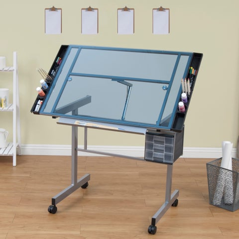 Studio Designs Vision Silver and Blue Glass Top Rolling Drafting Table