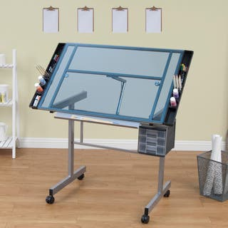 Drafting tables for less overstock studio designs vision silver and blue glass top rolling drafting table malvernweather Gallery