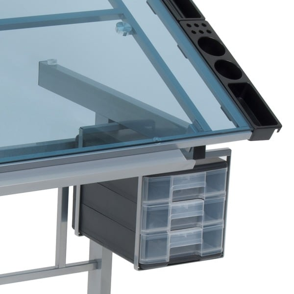 Studio Designs Vision Silver/Blue Glass Top Rolling Drafting Table   Free  Shipping Today   Overstock.com   14668392