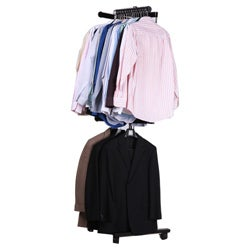 Mom's Rack Luxury Heavy-duty Two Tier Spinning Rolling Clothing and Garment Rack
