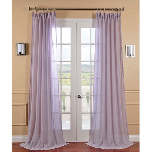 Exclusive Fabrics Lilac Haze Faux Linen Sheer Curtain Panel