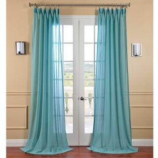 Exclusive Fabrics Lagoon Faux Linen Sheer Curtain Panel