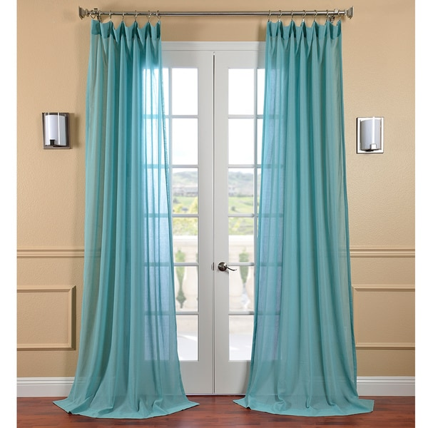 Exclusive Fabrics Lagoon Faux Linen Sheer Curtain Panel