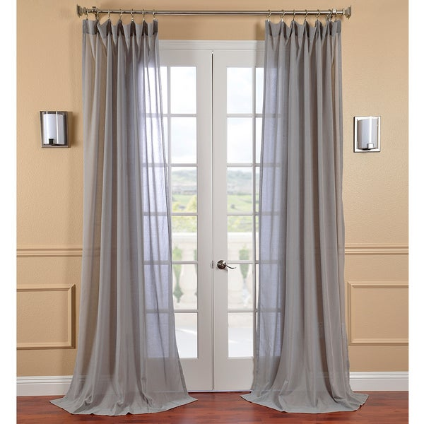 Exclusive Fabrics Nickel Faux Linen Sheer Curtain Panel