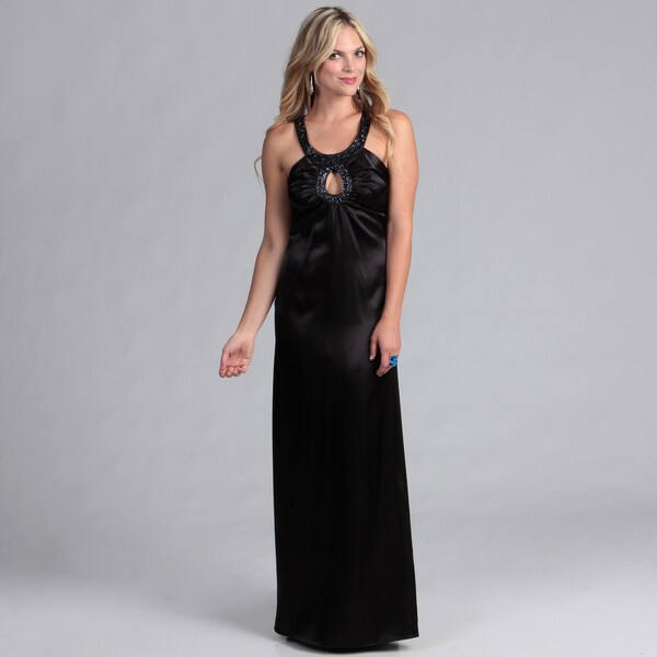 Institute Liberal Black Beaded Neck Formal Dress