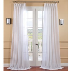 Captivating Exclusive Fabrics White Orchid Faux Linen Sheer Curtain Panel