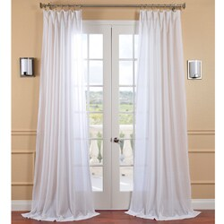 Exclusive Fabrics White Orchid Faux Linen Sheer Curtain Panel (4 options available)