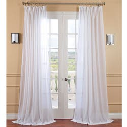 exclusive fabrics white orchid faux linen sheer curtain panel - White Sheer Curtains