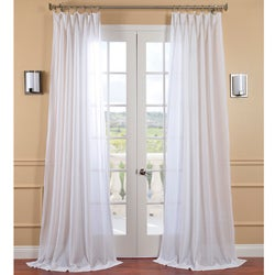 exclusive fabrics white orchid faux linen sheer curtain panel
