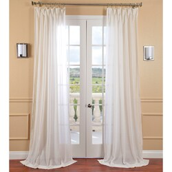 Exclusive Fabrics Gardenia White Faux-linen Sheer Curtain Panel