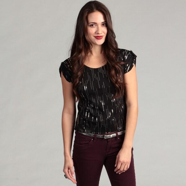 Institute Liberal Women's Stylish Black Sparkle Top
