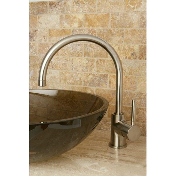 Satin Nickel Faucet/ Amber Glass Sink/ Faucet Set