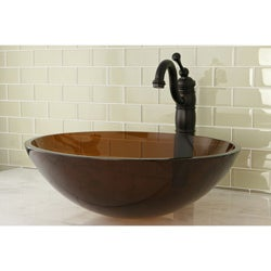 Oil Rubbed Bronze Faucet/ Amber Glass Sink Set
