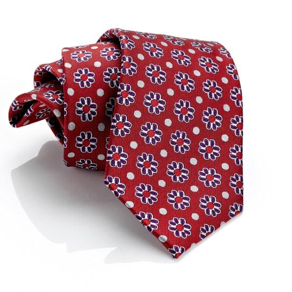 H. Luzzario & Co Red Cremisi Floral Tie
