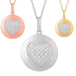Silver Diamond Accent Heart Disc Necklace