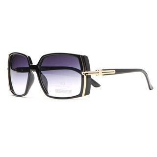 Anais Gvani Classic Square Frame Sunglasses with Gold Lined Accent