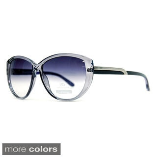 Anais Gvani Classic Round Sunglasses with Soft Pointy Angles and Side Metallic Accent