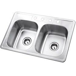 Self-Rimming Double-Bowl Topmount Kitchen Sink