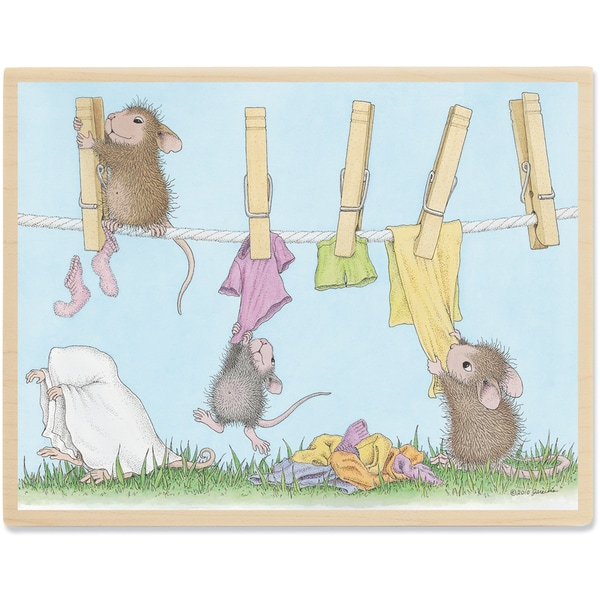 "House Mouse Mounted Rubber Stamp 3.75""X5""-Hanging By A Thread"
