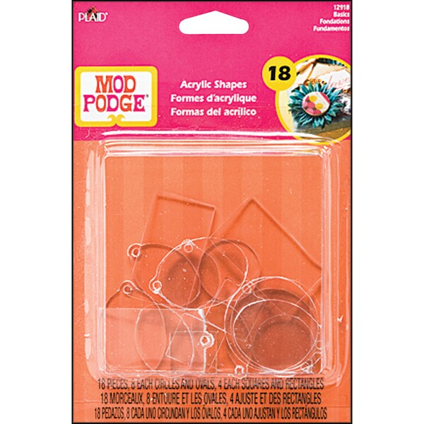 Plaid Mod Podge 3-D Shapes Basics Flat and Charms 18/Package