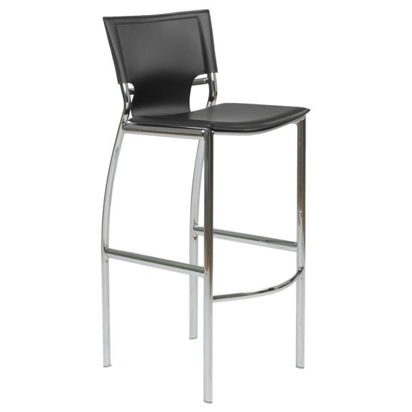 Vinnie 30-inch Black Leather/ Chrome Bar Stool (Set of 2)