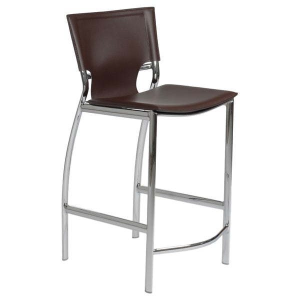 Vinnie 24.02-inch Brown Leather/ Chrome Counter Stool (Set of 2)