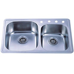 self rimming double bowl kitchen sink - Kitchen Sink Double