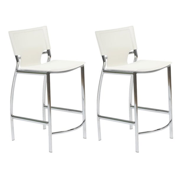 Vinnie White Counter Stool with Chrome Legs (Set of 2)