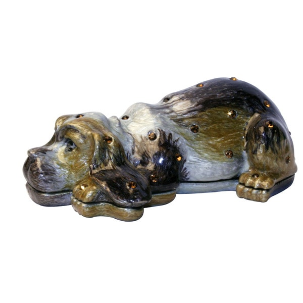 Cristiani Collezione Black Sleepy Dog Trinket Box