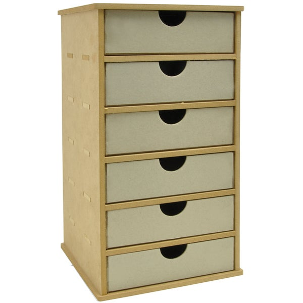 """Beyond The Page MDF Tower Storage With 6 Chipboard Drawers-7""""X7.25""""X13.5"""" (180MM X 185MM X 345MM)"""