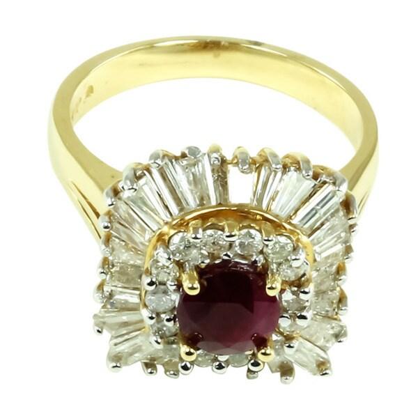 14k Yellow Gold Ruby and 1 1/3ct TDW Diamond Ring (I-J, I2-I3)