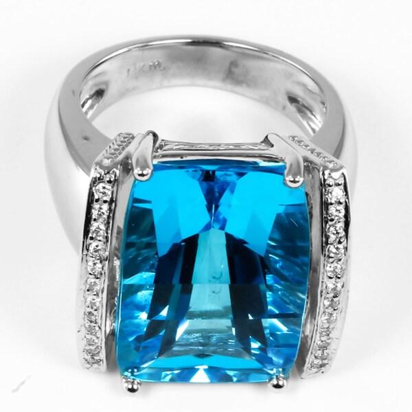 14k White Gold Blue Topaz and 1/8ct TDW Diamond Ring (H-I, I1-I2)