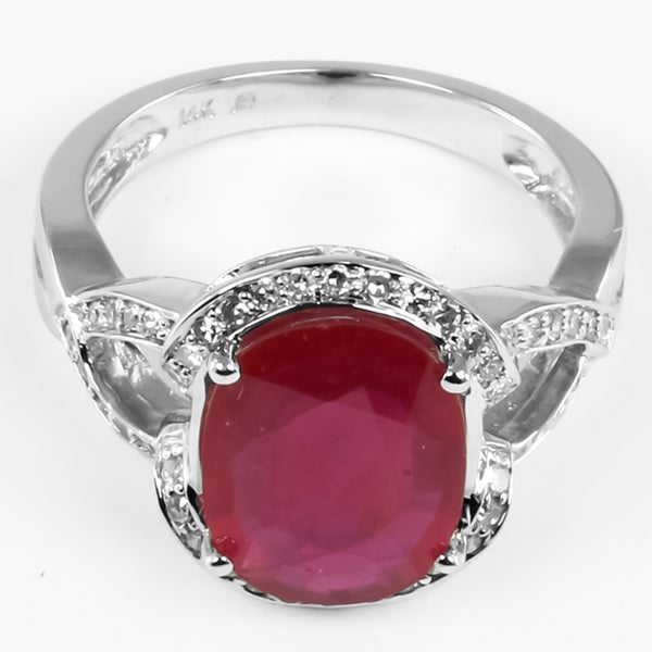 14k White Gold Ruby and 1/4ct TDW Round-cut Diamond Ring (I-J, I1-I2)