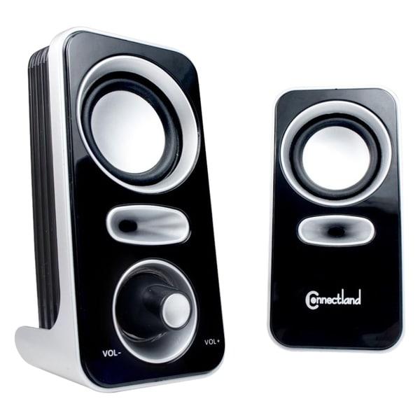 Connectland CL-SPK20116 2.0 Speaker System - 6 W RMS - Silver, Black