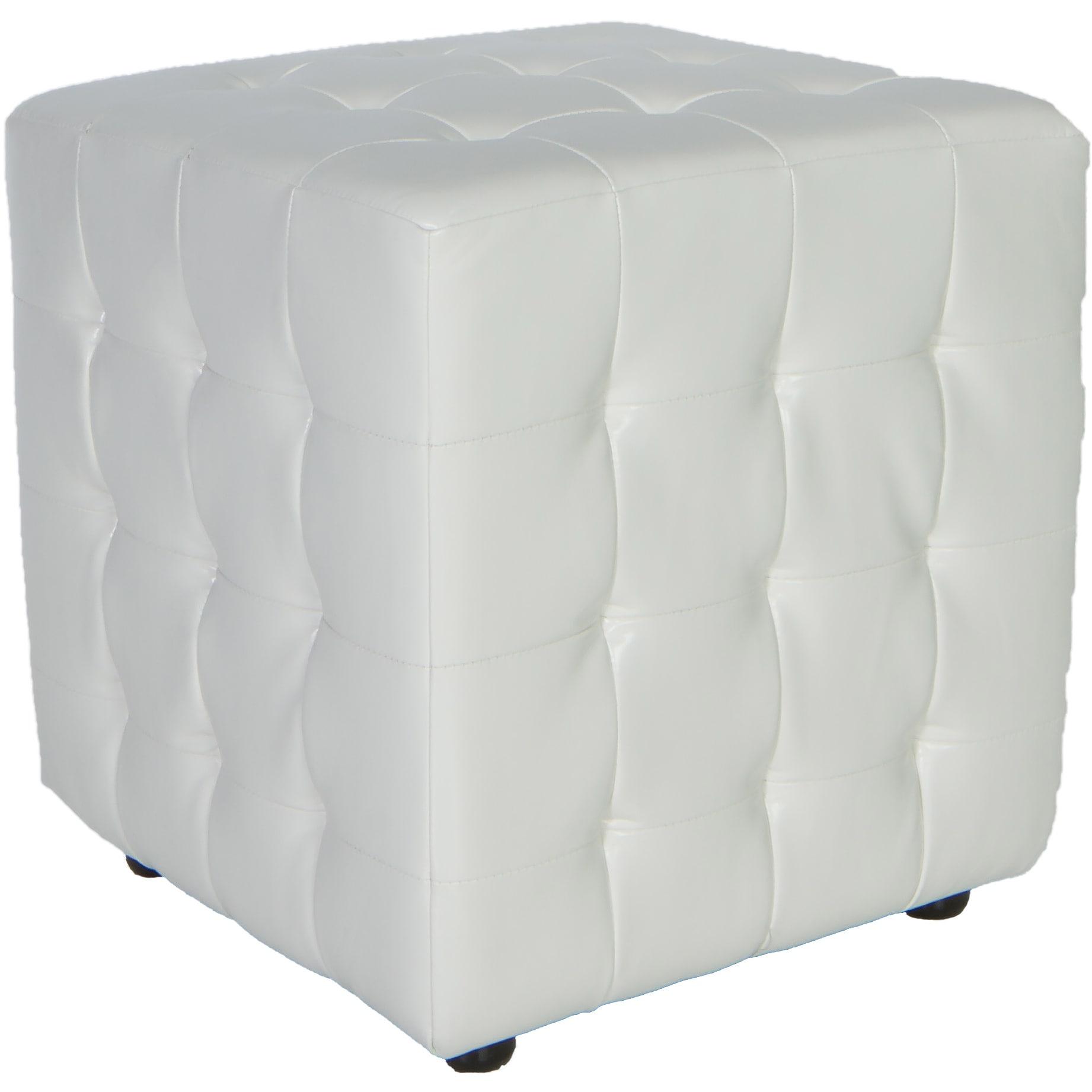 Awe Inspiring Porch Den Lawndale White Tufted Cube Ottoman Creativecarmelina Interior Chair Design Creativecarmelinacom