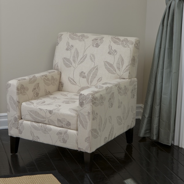 Edgington Embroidered Beige Club Chair by Christopher Knight Home
