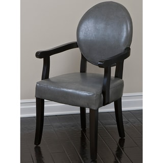 Henley Grey Wood Dining Room Arm Chair with Bonded Leather Upholstery by Christopher Knight Home