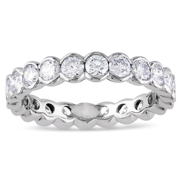 Miadora 14k White Gold 2ct TDW Certified Diamond Eternity Ring (G-H, I1-I2, IGL)