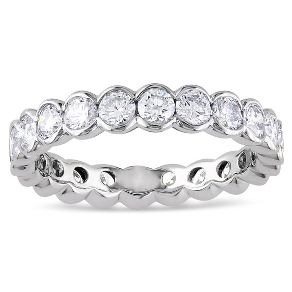 Miadora 14k White Gold 2ct TDW Certified Diamond Eternity Ring (G-H, I1-I2, IGL)