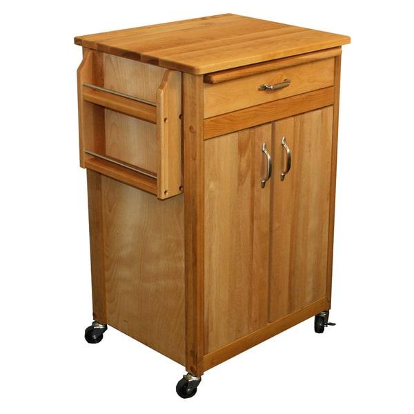 Catskill Craftsman Butcher Block Removable Cutting Board Kitchen Cart