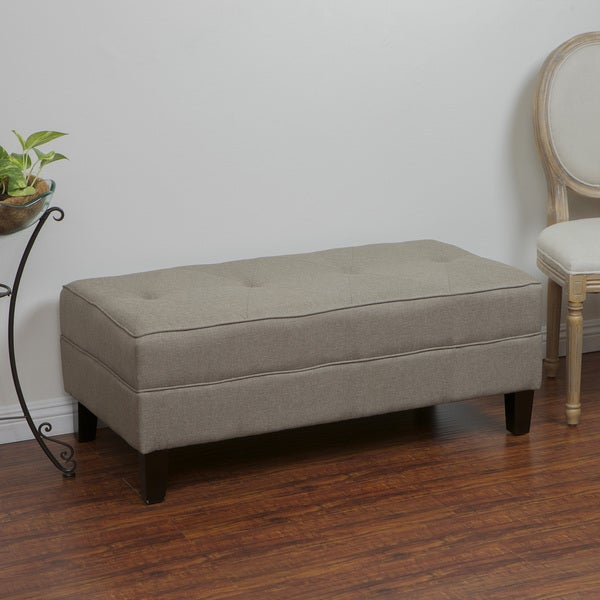 Cheshire Light Brown Fabric Bench Ottoman by Christopher Knight Home
