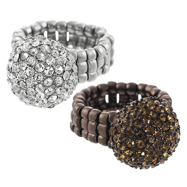 Journee Collection Metal Pave-set Rhinestone Dome Stretch Ring