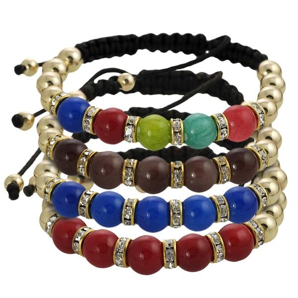 Journee Collection Goldtone Acrylic Bead Rhinestone Macrame Bracelet