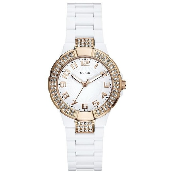 Guess Women's Crystal White Plastic Watch