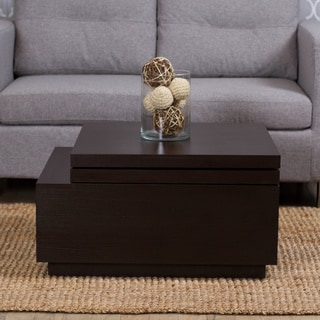Nikka High-gloss Lacquer Finish Swivel Lift-top Hidden Storage Coffee Table