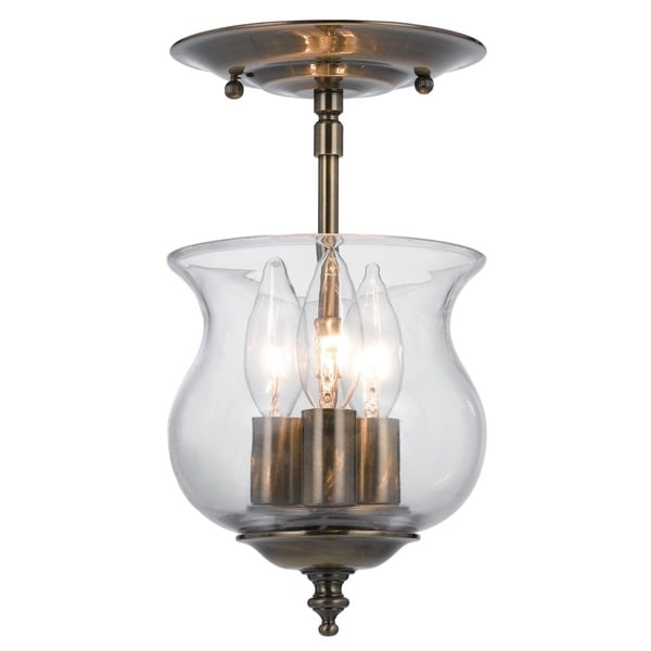 Crystorama Ascott Collection 3-light Antique Brass Semi-flush Mount