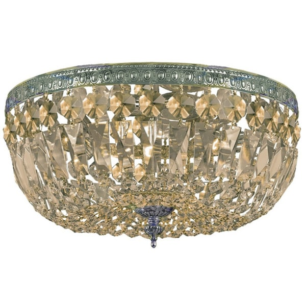 Crystorama Richmond Collection 3-light Antique Gold Flush Mount