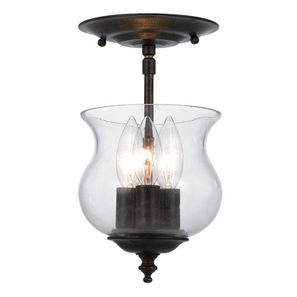 Crystorama Ascott 3 light English Bronze Semi-flush Light Fixture