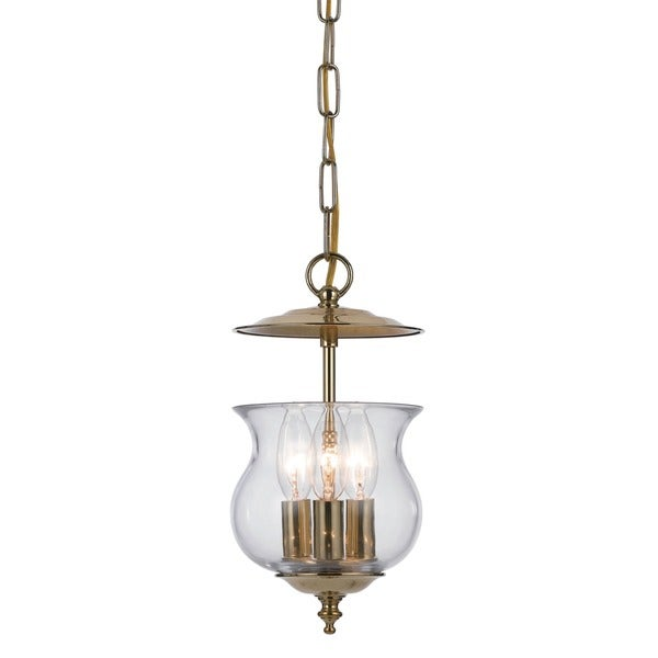 Crystorama Ascott Collection 3-light Polished Brass Pendant
