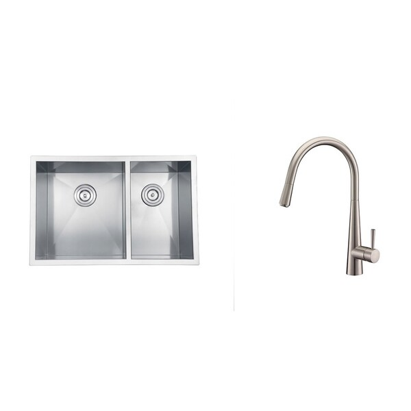 Shop Ruvati Stainless Steel Kitchen Sink Brushed Nickel Faucet Set